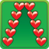 Valentine Christmas Tree. A creative illustration with red Valentine hearts against a green background, causing the illusion of a Christmas tree in the center Stock Images