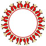 Valentine circle frame. Abstract figures and red hearts on a white background Royalty Free Stock Images