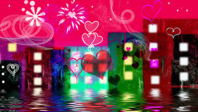 Valentine in the city. With red background Stock Photography