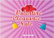 Valentine Clearance Sale illustration. For poster, brochure and internet content Royalty Free Stock Photos