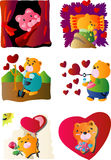 Valentine Clip Art Icon. 6 icons, vector illustration with cute bear and lots of hearts Stock Image