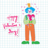 Valentine clown on math paper Royalty Free Stock Photography