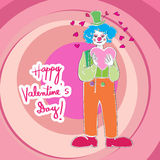 Valentine clown Royalty Free Stock Photo