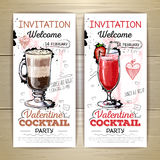 Valentine cocktail party poster. royalty free illustration