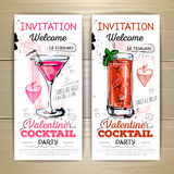 Valentine cocktail party poster. Stock Photo