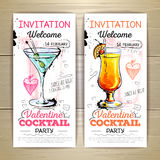 Valentine cocktail party poster. Royalty Free Stock Images