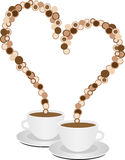 Valentine coffee. Coffee cup on white background; two cups filled with coffee, Valentine heart Royalty Free Stock Photography