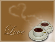 Valentine coffee. Two cups of coffee in love how romantic Royalty Free Stock Photo