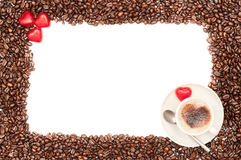 Valentine Coffee Border. Valentine coffee bean border with heart shaped chocolates Royalty Free Stock Photography