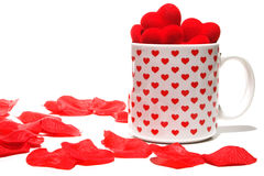 Valentine coffee cup hearts Royalty Free Stock Image