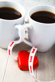 Valentine coffee cups with heart Royalty Free Stock Photos