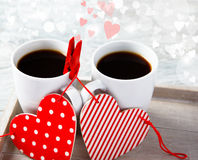 Valentine Coffee Cups With Hearts Stock Photography