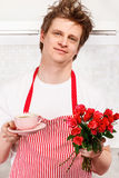Valentine coffee and roses Stock Images