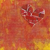 Valentine Collage. Valentine's Day collage: mosaic heart and orange and red background Royalty Free Illustration