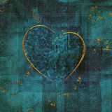 Valentine Collage. Gold heart with blue and green background Stock Illustration