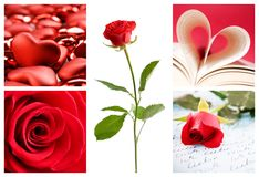 Valentine collage. With roses and hearts Royalty Free Stock Photos