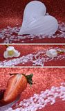 Valentine collage with heart and strawberry Stock Photos