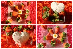 Valentine collage with hearts and cookie Stock Photos
