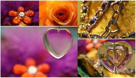 Valentine collage with hearts and rose Stock Photos