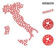 Valentine Collage Map de Italia y de los sellos del Grunge para las tarjetas del día de San Valentín libre illustration