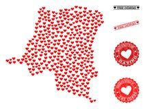 Valentine Collage Map de la République démocratique du Congo et des timbres grunges pour des valentines illustration stock
