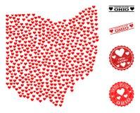 Valentine Collage Map de los sellos del estado y del Grunge de Ohio para las tarjetas del día de San Valentín ilustración del vector