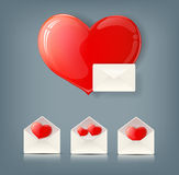 Valentine collection with envelopes and hearts Stock Photos