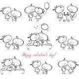 Valentine collection. Valentines couple,  meet on a date. Vector illustration of Valentine collection Stock Photography