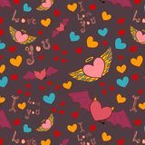 Valentine color seamless pattern on dark Royalty Free Stock Images