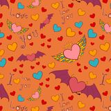 Valentine color seamless pattern on orange Stock Photography