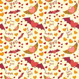Valentine color seamless pattern on yellow grunge Royalty Free Stock Image