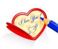 Valentine comme coeur et pensil Illustration de Vecteur