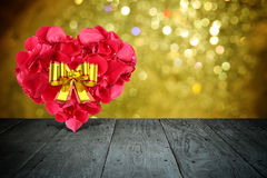 Valentine composition with heart shape made out of rose petals Royalty Free Stock Image
