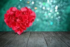 Valentine composition with heart shape made out of rose petals Royalty Free Stock Images