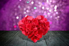 Valentine composition with heart shape made out of rose petals Stock Photography