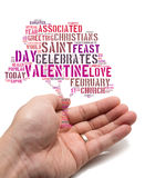 Valentine concept Asian male holding a tree shape tag cloud Stock Image