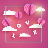 Valentine concept. Balloon hearts carrying LOVE letter. On pink tone background Stock Photos