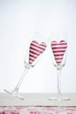 Valentine concept - champagne glasses with hearts Stock Images
