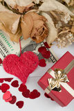 Valentine concept with hearts, dry roses and Stock Photos