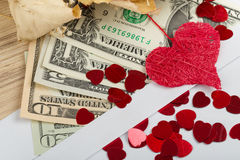 Valentine concept with hearts, dry roses and Royalty Free Stock Photos