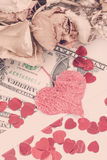 Valentine concept with hearts, dry roses and Stock Image
