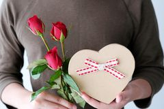 Valentine concept, Man hand holding red roses and gift box. Valentine day concept, Man hand holding red roses and gift box Stock Photography