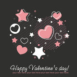 Valentine congratulation card with hearts Stock Photography