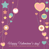 Valentine congratulation card with hearts Royalty Free Stock Image