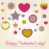 Valentine congratulation card with hearts Stock Image