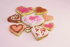 Valentine cookie assortment Royalty Free Stock Images