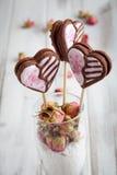 Valentine cookie pops Stock Images