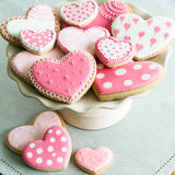 Valentine cookies. Cake stand filled with Valentine cookies Royalty Free Stock Photos