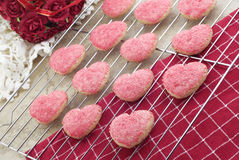 Valentine Cookies on Cooling Rack Stock Photo