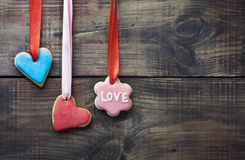 Valentine cookies decorated with frosting Royalty Free Stock Photos